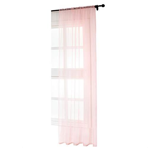 WOLTU VH5515rs, Gardinen Vorhang transparent mit Kräuselband Stores Voile für Schiene Fensterschal Wohnzimmer Schlafzimmer Landhaus 140x225 cm Rosa, (1 Stück)