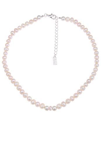 Leslii Kurze Damen-Has-Kette Perlen-Glanz echte Süßwasser-Zuchtperlen Collier weiße Perlen-Kette Kurze Modeschmuck-Kette in Weiß