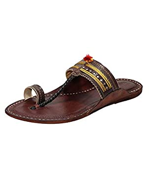 KALAPURI Ladies Comfortable Kolhapuri Chappal in Export Quality Genuine Leather with Reddish Brown Pointed Shape Base and Traditional Jari Lace Upper. Handmade in Kolhapur