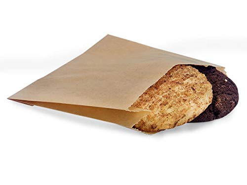 Food Grade Bread Bags Food Packaging Paper Bread Bags Grease Resistant Natural Bags 5 x 1.5 x 4.5 100 Bags Good for Pharmacy, Cookies, Doughnut, Candy, Crafts, Party Favor, Jewelry, San