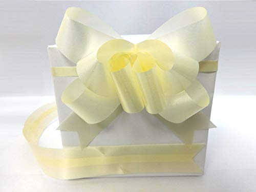 SHATCHI Large 30mm Ribbon Pull Bows for Party Wall, Gift Wraps, Christmas Trees, Wedding, Birthday Hampers Decoration Florist (10/20/30/40/60pcs), Ivory, 10pcs