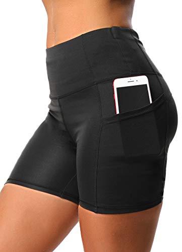 INSTINNCT Damen Kurz Leggings Sportshort High Waist mit seitlichen Taschen Medium