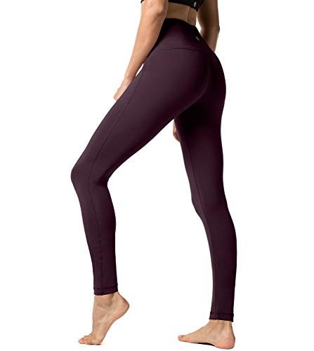 LAPASA Damen Leggings Yoga Sport Pants Lang High Waist L01, Gr.-32/XS, Weinrot