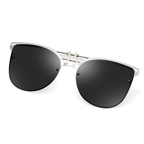 Polarized Clip-on Sunglasses Anti-Glare UV 400 Protection Cateye Sun Glasses Clip On Prescription Glasses (Cateye--Black)