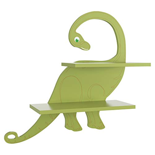 Homfa Estantería de Pared Estantería Infantil para Niños Estantería Flotante Madera para Habitación Infantil Salón de Forma Dinosaurio 50.5x16.2x47.5cm