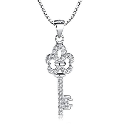 Dfngiq 925 Plata Clave Colgante Moda Vida I (Clave) Love Locks Diamonds Enviar a Regalos