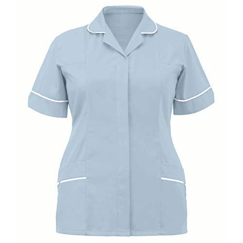 Disfraz de enfermera de mujer de manga corta con cuello alto y uniforme de enfermera, disfraz de doctor, mdico, casaca de enfermera, uniforme de enfermera, cosplay, camisetas. azul claro M