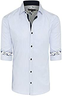 Tarocash Men's Finlay Stripe Shirt Cotton Blend Regular Fit Long Sleeve Sizes XS-5XL for Going Out Smart Occasionwear