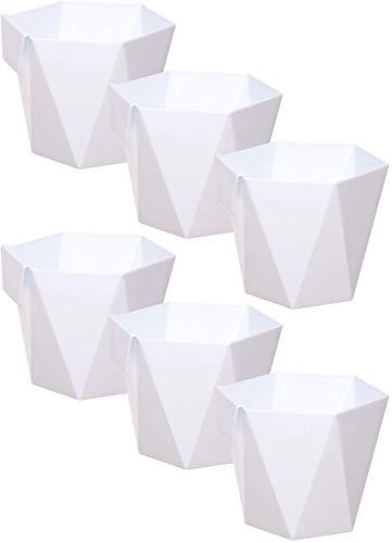 idea-station macetas plastico 6 Piezas, 11 cm, Blanco, Plaza, pequeñas, maceteros, jarrones, Decorativas, pequenas, Interior, Exterior, inastillable