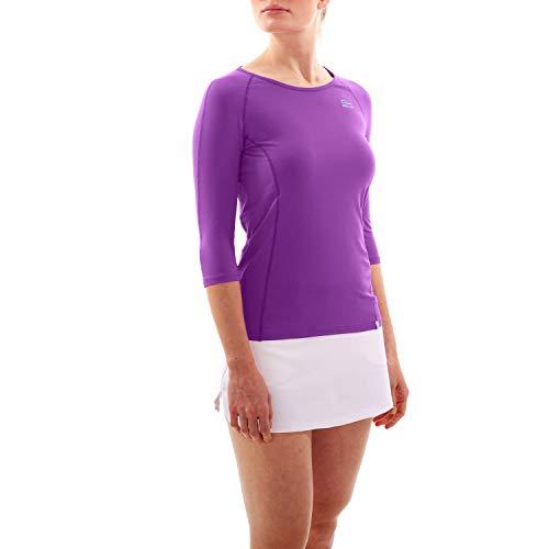 Sportkind T-shirt de tennis à manches longues 3/4 avec col rond, protection UV UPF 50+, respirant - Bleu - 12 ans