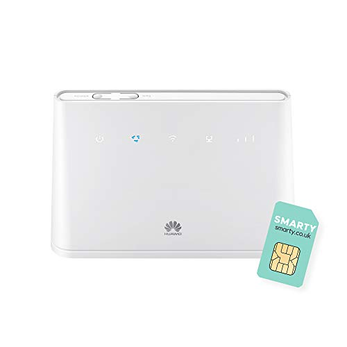 Huawei B311 2020, 4G/ LTE 150 Mbps Mobile Wi-Fi Router, Unlocked to All Networks- Genuine UK Warranty STOCK (Non Network Logo) with FREE SMARTY SIM Card- White B311-221