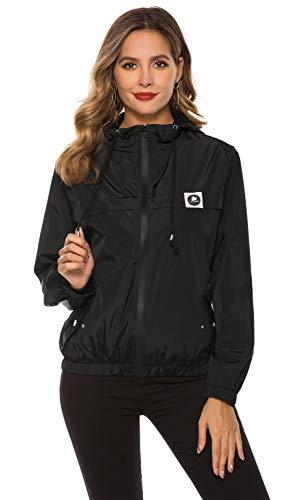 Regenjacke Damen Atmungsaktiv Wasserdicht Jacke Leichte Kurze Qegenmantel Dünne Übergangsjacken [Schwarz XXL]