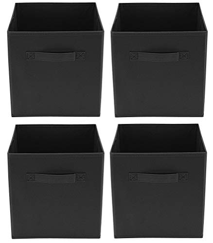 Clay Roberts Aufbewahrungsboxen, Aufbewahrungskorb, 4er Set, Schwarz, Faltbox aus Stoff, passend für Regalschrank