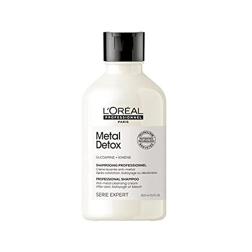 L'Oréal Professionnel | Shampoing Anti-Métal, Idéal après Coloration, Balayage & Décoloration, Metal Detox, SERIE EXPERT, 300 ml