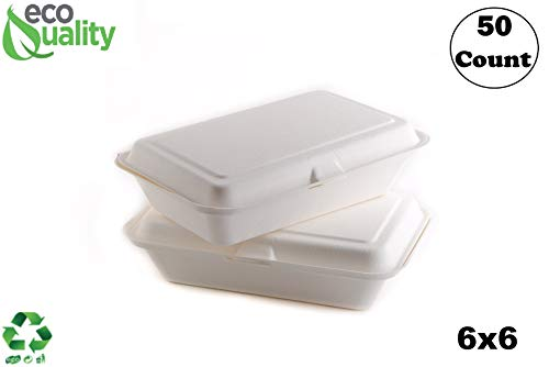 50 Count - Biodegradable 6x6 Take Out Food Containers with Clamshell Hinged Lid - Eco Friendly Sugarcane Bagasse 100% Compostable, Recyclable, Togo, Restaurant Carry Out, Party Take Home Boxes