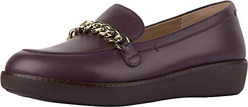 FitFlop Womens Paige Chain Moc Loafer Shoes, Deep Plum, US 9