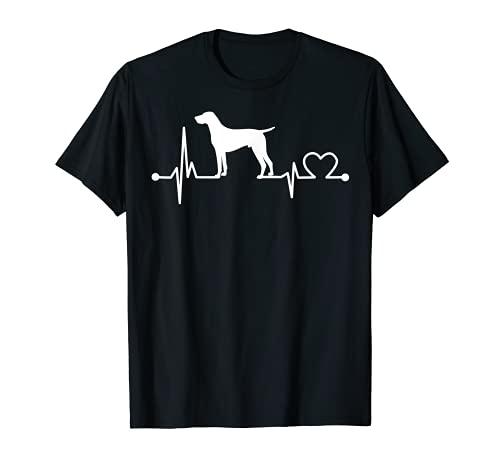 PUNTERO ALEMANO CORTO Heartbeat Funny Love Dog Pet Camiseta
