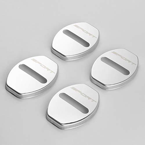 NTUOO 4Pcs Cubierta Cerradura Puerta Coche Acero Inoxidable, para Seat FR Leon Ibiza Alhambra Door Lock Cover Bloqueo óxido Hebilla Protección Cubierta, Automático Diseño Accesorios