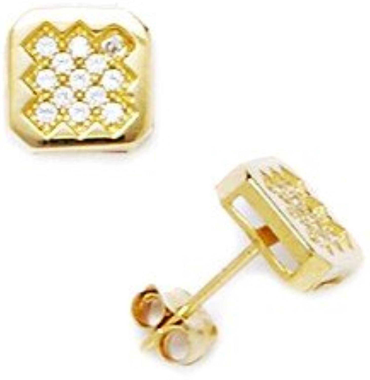 en stock 14ct amarillo CZ cuadrada Pequeña para Juego de de de pendientes de Micropave - mide 7 x 7 mm - JewelryWeb  precio al por mayor