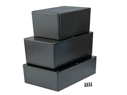MB6 - ABS Kunststoffgehäuse mit Deckel, Mehrzweckgehäuse, Modulgehäuse, (LxBxH) 220 x 150 x 64 mm, Schwarz - Matt
