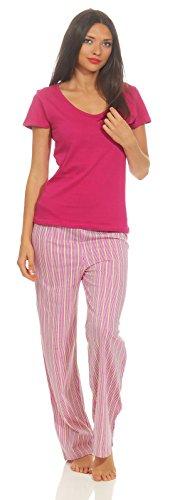 Good Deal Market Playa Pink 36/38 Kurzer Damen-Pyjama sommerlicher Schlafanzug 36-38/S, pink/grün luftig leichte Baumwolle