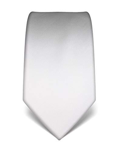 Vincenzo Boretti Herren Krawatte reine Seide uni einfarbig edel Männer-Design zum Hemd mit Anzug für Business Hochzeit 8 cm schmal/breit weiß