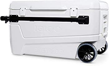 Igloo 110 Qt Glide Pro Portable Large Ice Chest Wheeled Cooler White