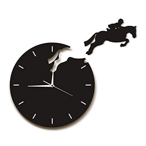 Relojes de Pared Montar a Caballo Arte de la Pared Jinete Saltando del Reloj Jinete a Caballo Caballo de Salto Reloj de Pared Reloj Colgante Regalo Equestrienne