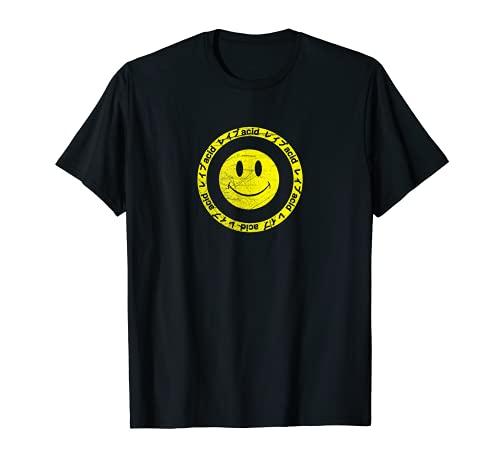 Vintage Acid Smiley - Techno Rave Synth Nerd T-Shirt 90s