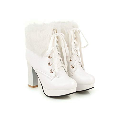 MUNDERA Women Faux Fur Platform High Heel Booties Chunky Block Heels Warm Lace Up Round Toe Winter Ankle Boots White