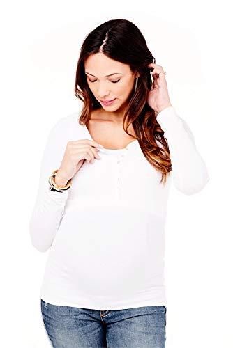 Ingrid & Isabel Women's Maternity Long Sleeve Rib Henley, White, Small