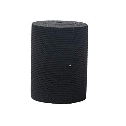 Bobina elástica de 7,6 cm de ancho, color negro, elástico fuerte para coser a la cintura, 2,74 m.