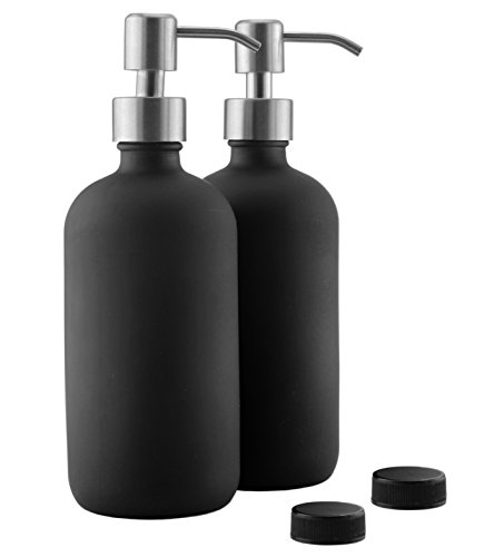16oz Black Glass Bottles w Stainless Steel Pumps (2-Pack); Black Coated Boston Round; Lotion, Hand Care & Soap Dispensers