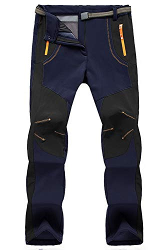 TBMPOY Men's Snow Ski Waterproof Fleece Lined Pants Outdoor Hiking Mountain Softshell with Belt 02 Thick Navy M