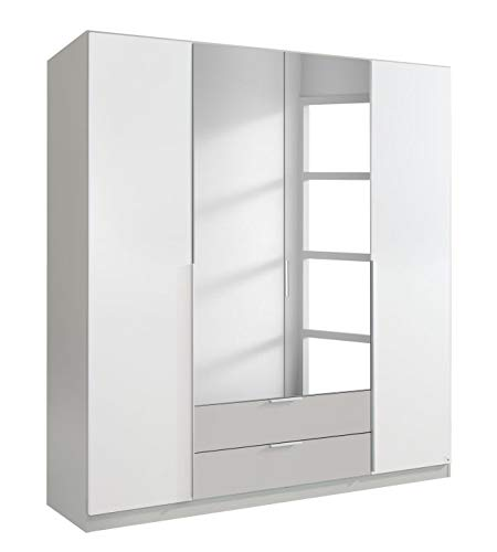 Kleiderschrank 4 Türen weiß/grau B 181 cm H 197 cm Jugendzimmer Kinderzimmer Schlafzimmer Drehtürenschrank Wäscheschrank Spiegelschrank