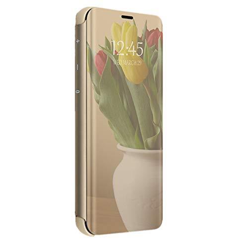 Kompatibel mit Huawei Mate 7 Hülle Spiegel Mirror Case Spiegel Handyhülle Silicone Flip Case Cover Handy Schutz Echtleder Tasche Schutzhülle für Huawei Mate 7 (Gold)