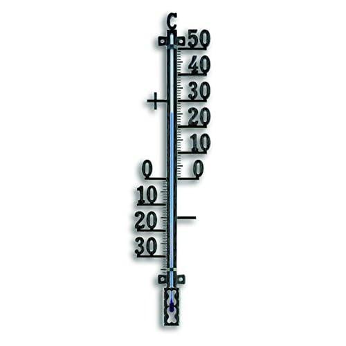 TFA Dostmann 12.5002.01 TFA Termometro da Esterno in Metallo Nero, Black