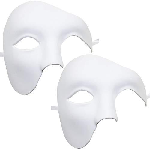 Kapmore 2PCS Venezianische Maske Herren Maskerade Maske Phantom der Oper Maske Maskenball Maske Kostüme Karneval Party Halloween (Weiß1)