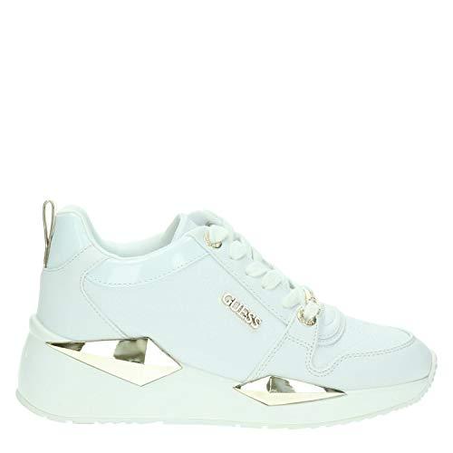 Guess Scarpe Donna Sneaker Running Rejjy in Ecopelle/Tessuto Bianco/Brown DS20GU03