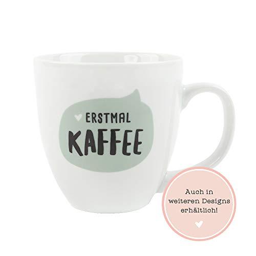 Odernichtoderdoch Jumbo-Tasse 'Erstmal Kaffee' – Kaffeebecher aus Porzellan mit Spruch – Volumen 0,4 l, Höhe 9,5 cm, weiß