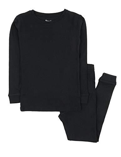 Leveret Kids Pajamas Boys & Girls Solid Black 2 Piece Pajama Set 100% Cotton Size 12 Years