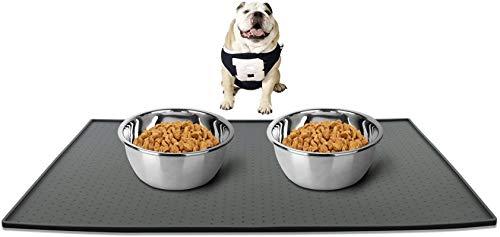 Ewolee Tapetes para Comer para Perros Gatos de Silicona Premium con Borde Extra Alto y Superficie Antideslizante | Esterilla y Salvamanteles para Su Mascota | Alfombrilla para Perros (Gris 48 x 30 cm)