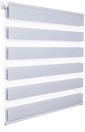 xiaoxiao666 Doble persiana Enrollable sin Taladro Lateral persiana Enrollable; Blanco translúcido y Oscuro 45x150 cm-Gris A32_50x150 cm