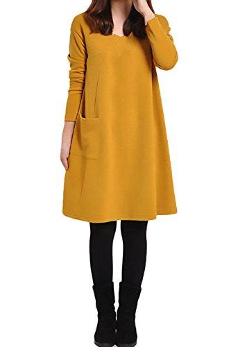 Donna Vestiti Eleganti al Ginocchio Invernali Autunno Ragazze Abito Linea Ad A Maniche Lunghe V Neck Vestitini Moda Giorno Sciolto Basic Puro Colore con Tasca Abiti Vestito