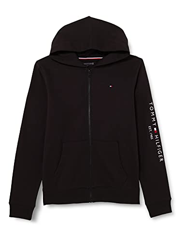 Tommy Hilfiger Essential Hooded Zip Through Pullover, Black, 14 Anni Bambino