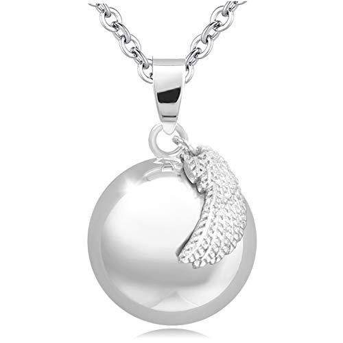 Crea & CO - Bola de embarazo, diseño de alas de ángel chapado en plata, cadena larga de 114 cm, joya musical con campanilla para maternidad, embarazadas, regalo ideal para futuras madres