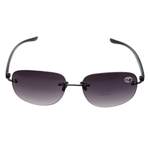 FKY Outdoor Rimless fising bifocale leesbril zonnebril lezer +1,0 tot +3,5 +1,50 lila + zwart.