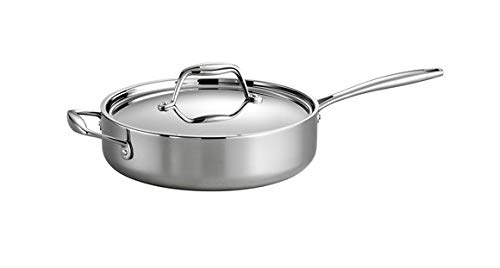 Tramontina 80116/058DS Gourmet Stainless Steel Induction-Ready Tri-Ply Clad Covered Deep Saute Pan,...