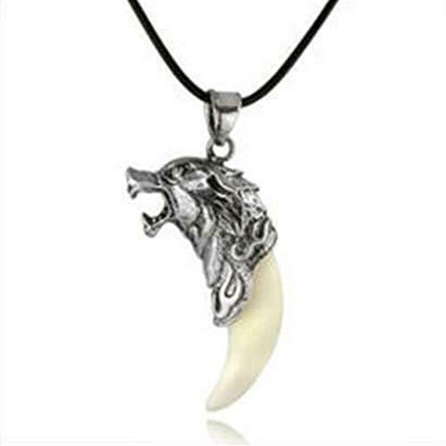 vpuquuz 1 Pieza Joyeria Colgante De Los Dientes del Lobo Collares Collar de Acero Inoxidable Diente de Lobo Blanco Retro Collar de Plata Tibetana Ajustable 21cm-50cm