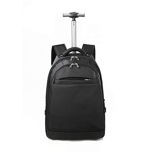 Business-Rucksack mit Rädern, Rucksack mit Rädern, Handgepäck, Kabinenrucksack, Reisetrolley, Tasche für Herren und Damen, kompatibel für 15,6 Zoll Laptop, Schwarz
